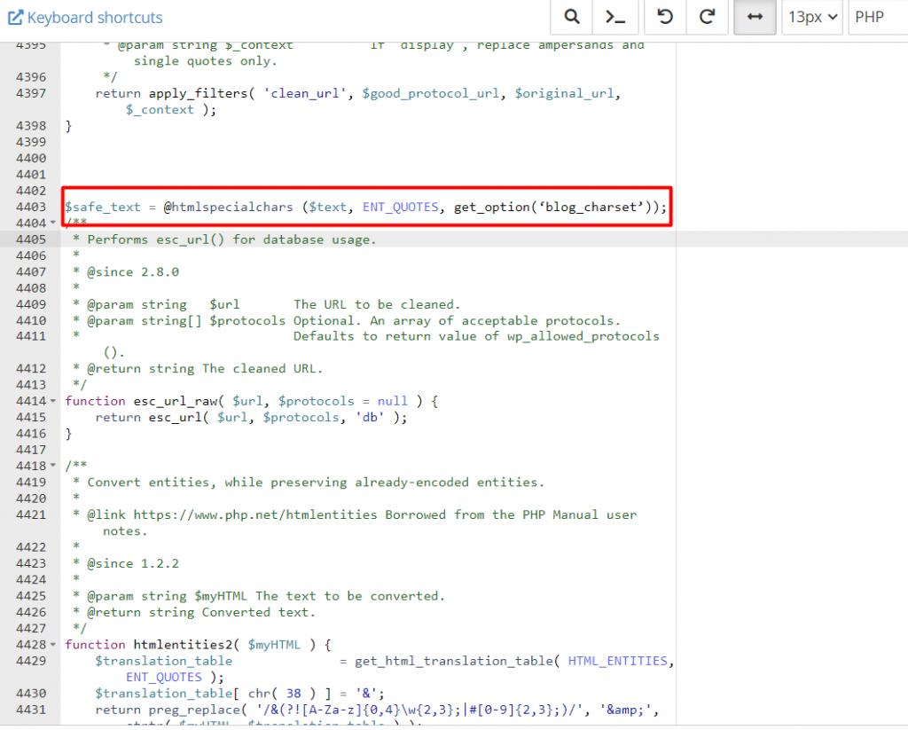Resolve Warning: htmlspecialchars