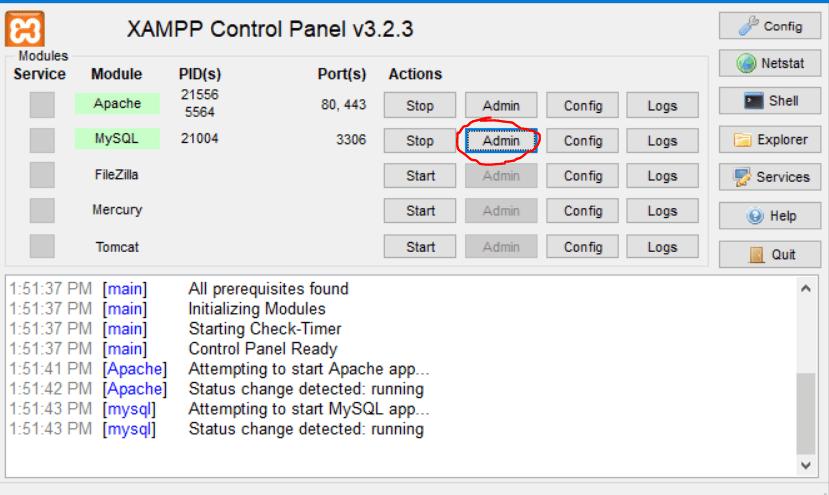 xampp and click admin