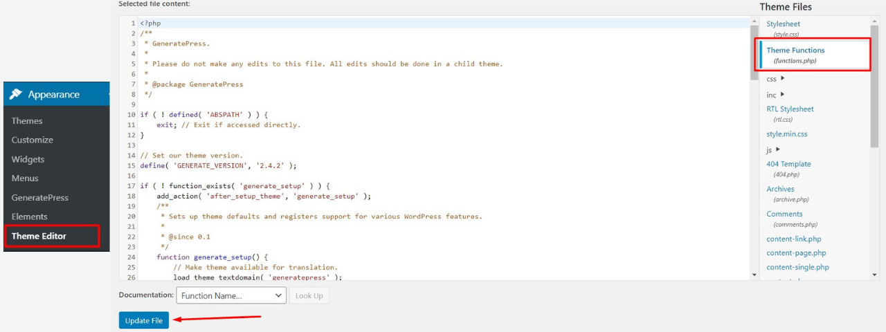 Editing Theme's function.php