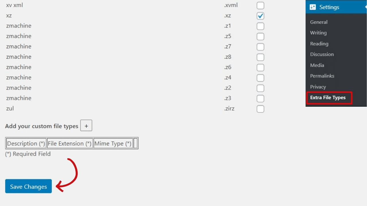 Extra file type change file type error