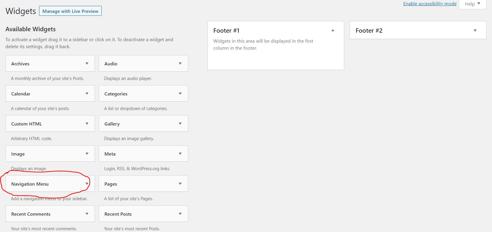 add menu to widgets