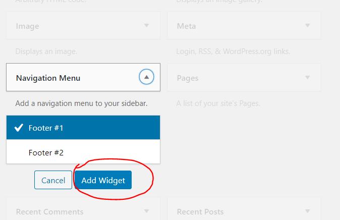 another way to add menu in wordpress widget