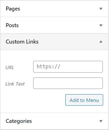 custom link in navigation menu