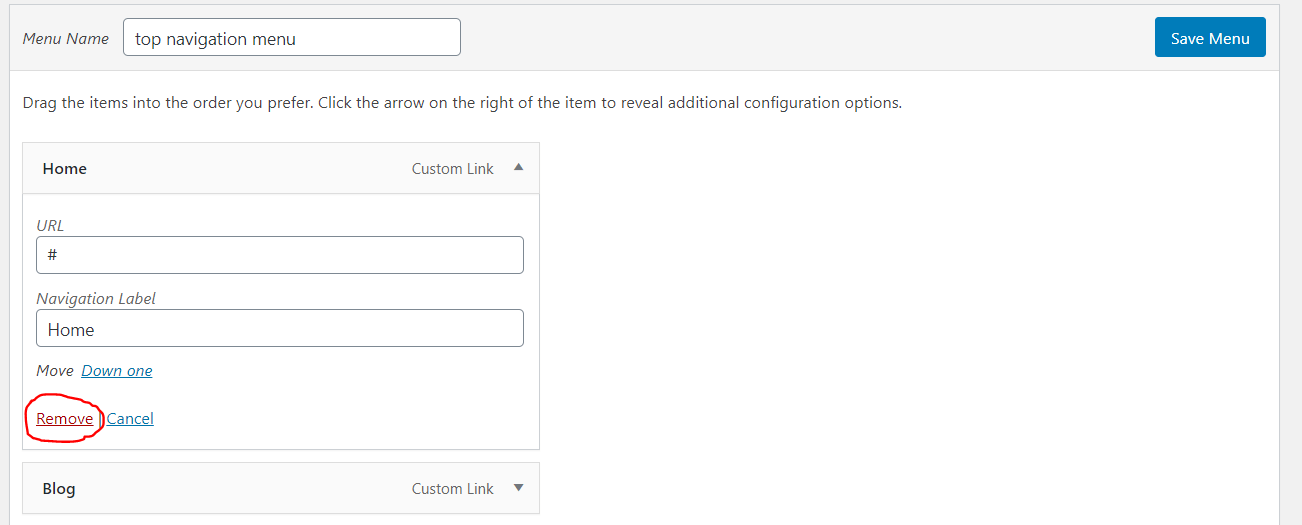 edit or delete menu fromm navigation menu