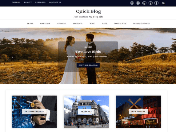 quick blog wordpress theme