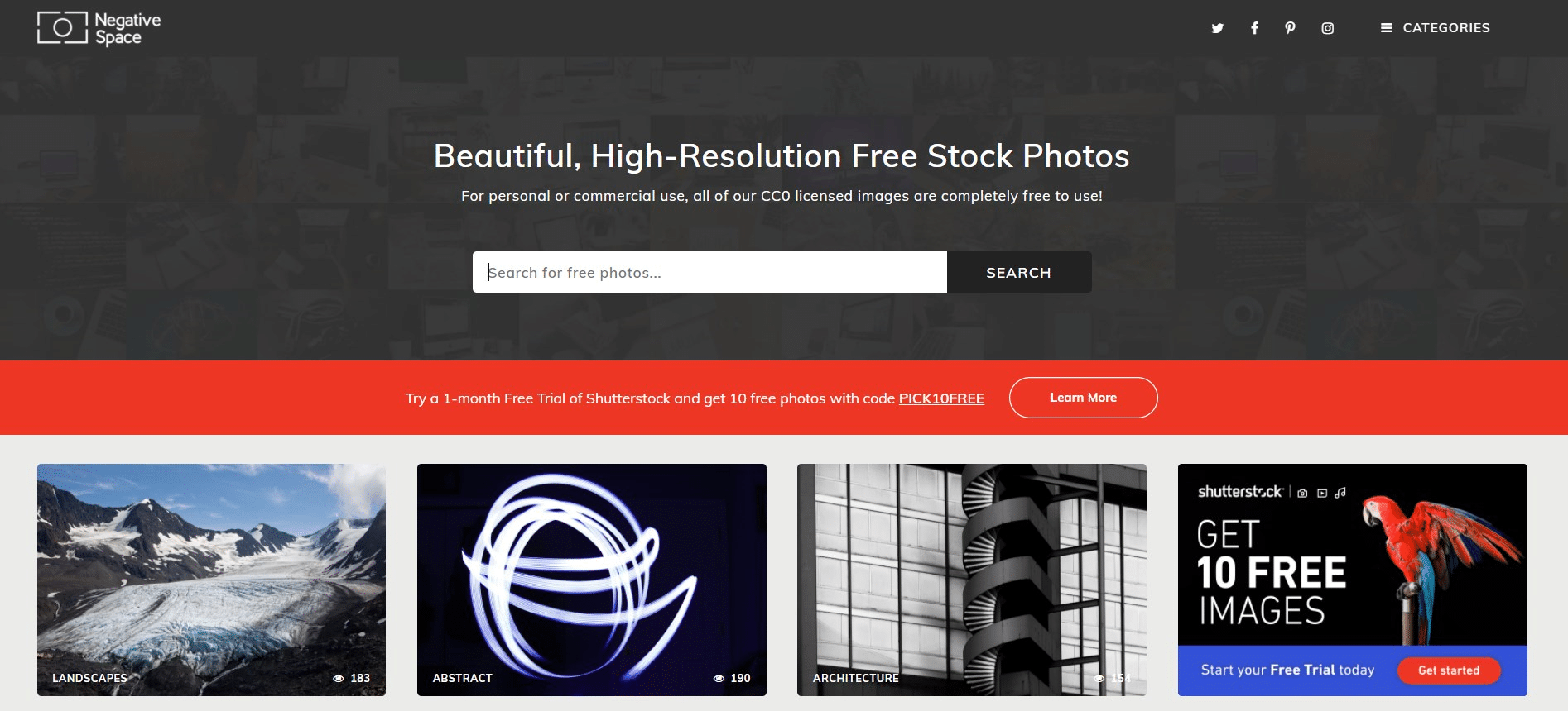 Negative Space - Stock free image website