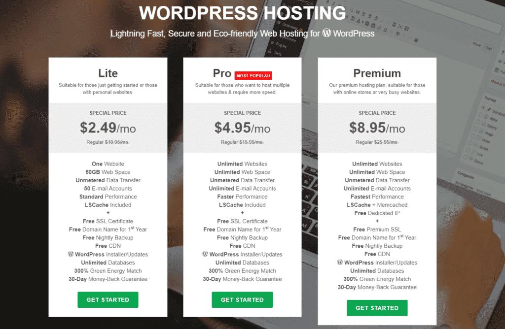 Greengeeks hosting plan